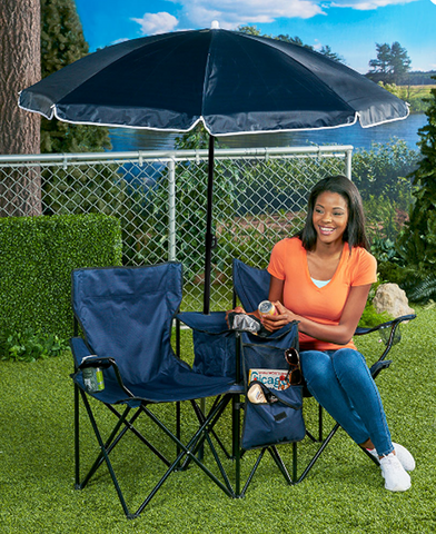 Double Chair with Cooler, Carrying Shoulder Bag & Umbrella