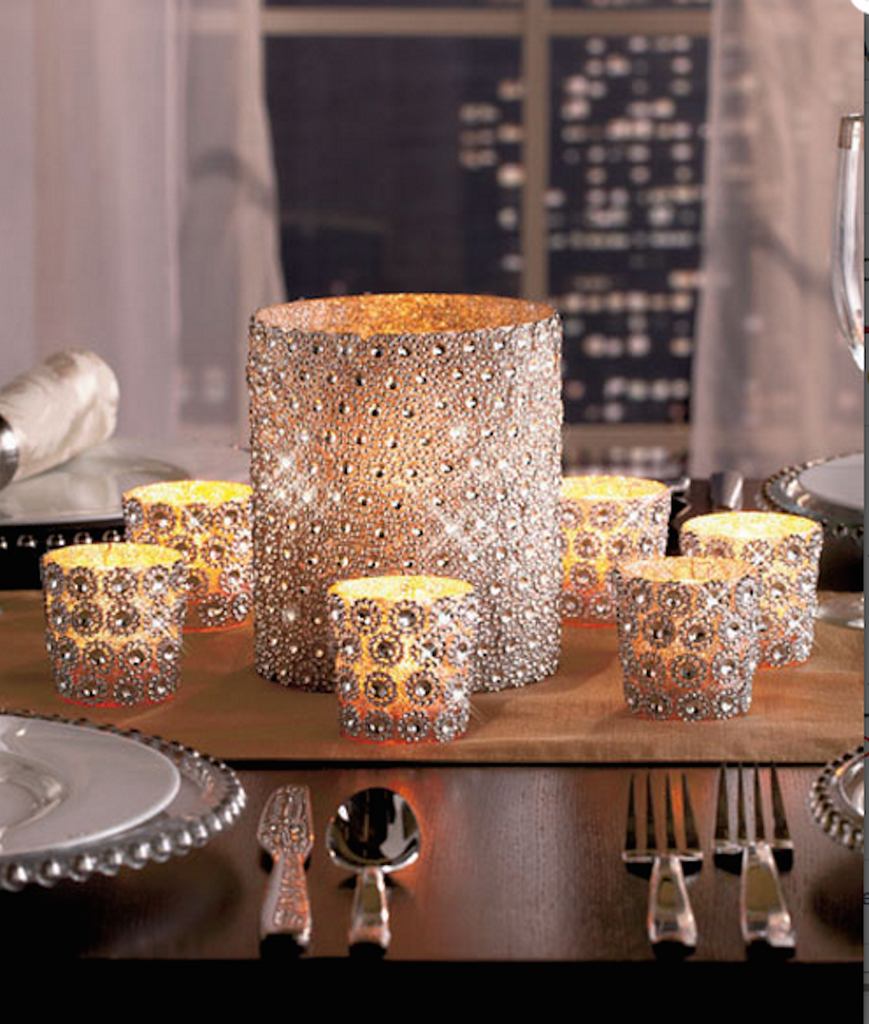 Set of 7 Dazzling Silver Glass Design Votive Candleholders & Sparkling Gems Embellished Pillar Candleholder - Set of 7 Marvelous Centerpiece Decoration