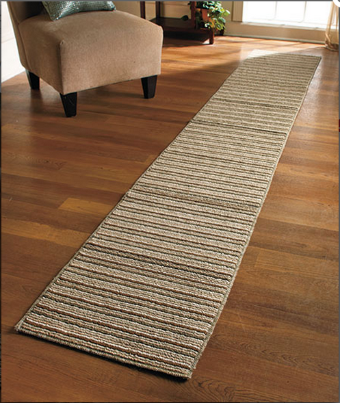 Extra-long High-Traffic Area Nonslip Striped Runners 60'' 90''' 120'' (Sand')