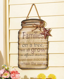 Country Themed Home Family Hanging Metal Mason Jar Sentiment Decoration