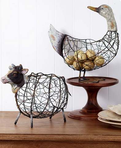 Country Farmhouse Kitchen Cow or Duck Baskets Rustic Decor