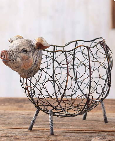 Country Farmhouse Kitchen Pig or Rooster Baskets Rustic Decor