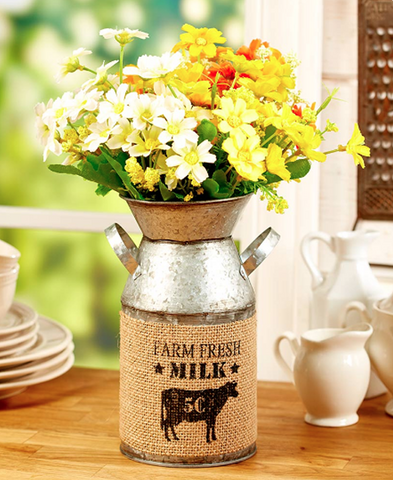 Country Farmhouse Galvanized Flower Milk Can Vase