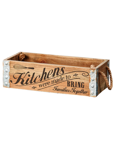 Country Farmhouse Kitchen Rustic Storage Crate W/ 2 Rope Handles