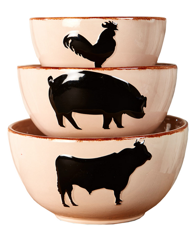 Country Farmhouse Kitchen Mixing Barnyard Animal Bowls Set of 3