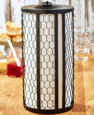 Farmhouse Kitchen Chicken Wire Paper Towel Holder Black