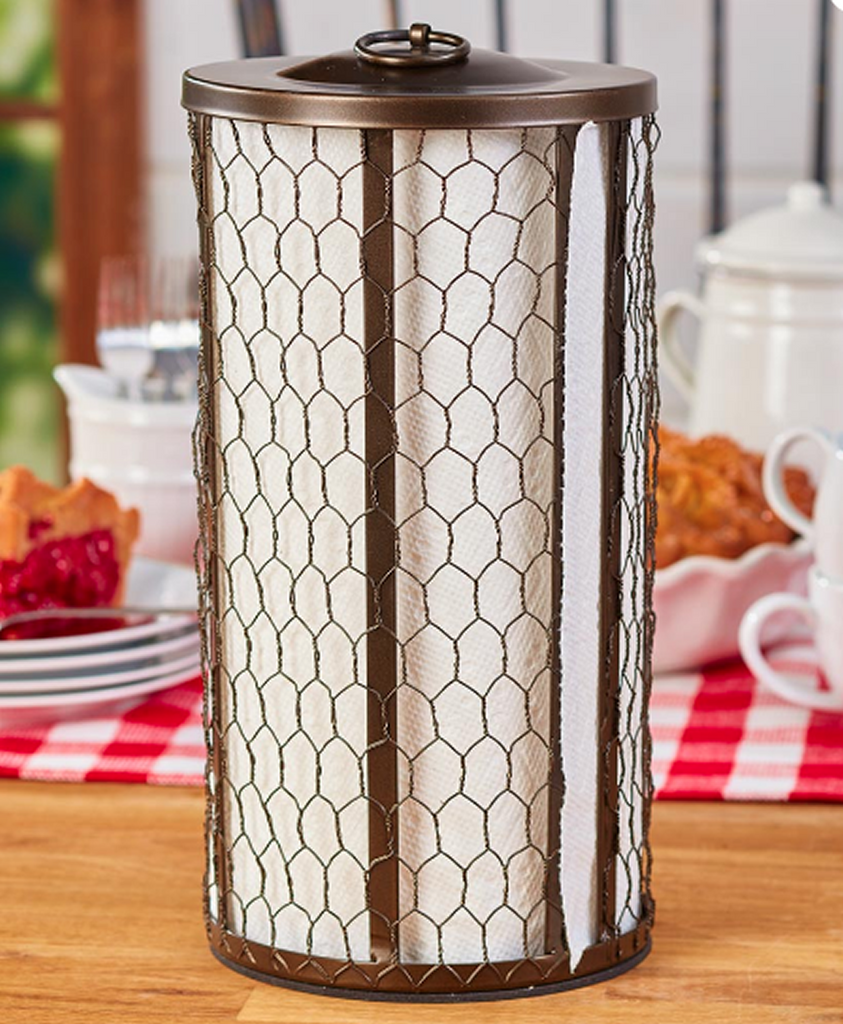 Farmhouse Kitchen Chicken Wire Paper Towel Holder Bronze