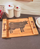 Country Cow Wood Farmhouse Decorative Serving Trays