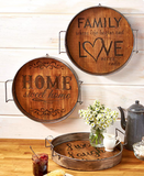 Country Farmhouse Rustic Wood & Metal Trays