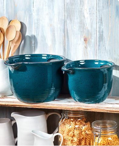Country Farmhouse Kitchen Oversized Mixing Bowls Set of 2 Blue