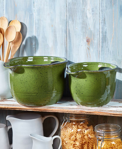 Country Farmhouse Kitchen Oversized Mixing Bowls Set of 2 Green
