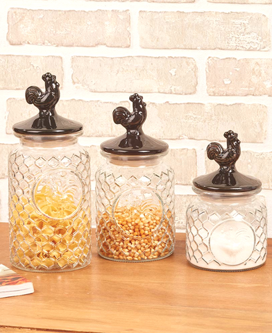 Country Farmhouse Kitchen Rooster Glass and Ceramic Canisters Set of 3
