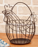 Country Farmhouse Kitchen Rooster Metal Basket
