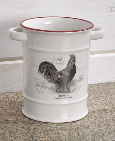 Country Rooster or Cow Utensil Crock Farmhouse Kitchen Cooking Decor