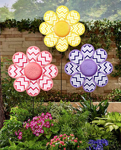 Set of 3 Garden Flower Petals Wall Hanging or Stakes Yard Decor