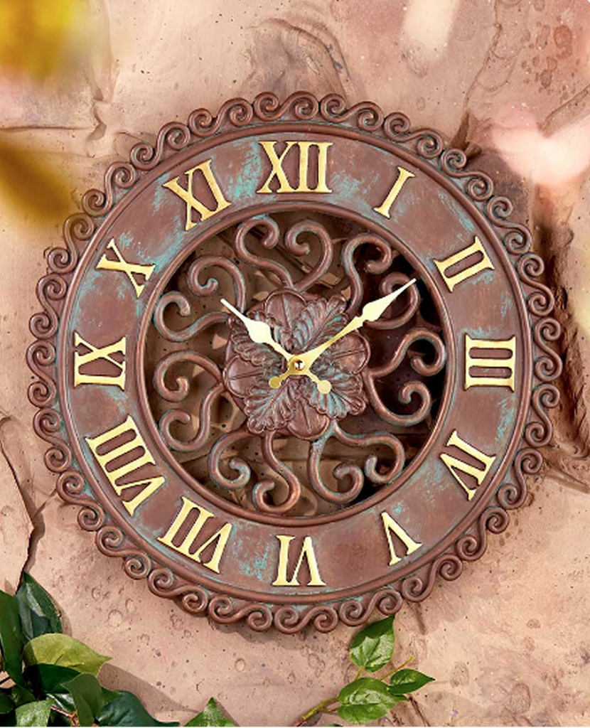Decorative Indoor/Outdoor Clock or Thermometer Garden Decor