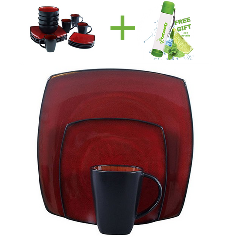 Microwave Safe Gibson Home Soho Lounge Square 16-Piece Dinnerware Set Red