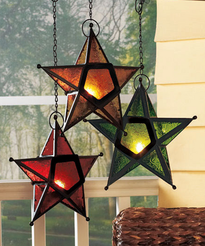 Hanging Shining Glass Star Tea Light Candleholders Set Of 3
