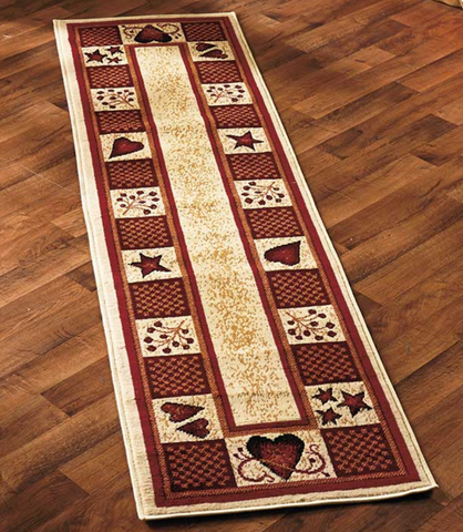 Burgundy Hearts & Berries Runner Carpet Decorative Rug Collections