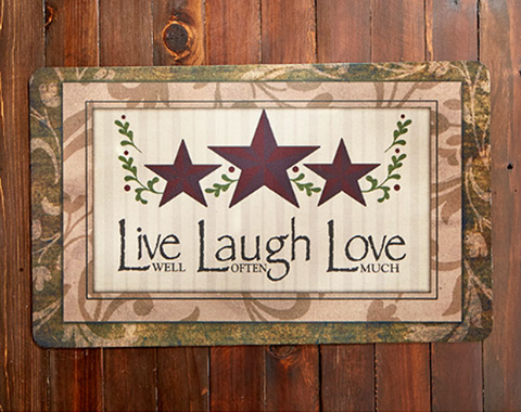 Kitchen Floor Live Laugh Love Indoor/Outdoor Country Rubber Mat