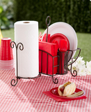 Kitchen Utensils Picnic Caddy with Napkin, Paper Towel Holder