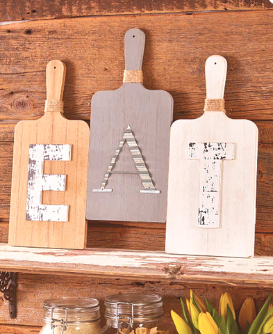 Country Farmhouse Kitchen Cutting Board 3Pc EAT Wall Hanging Display