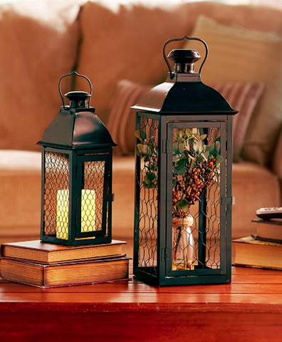 Country Decor Chicken Wire Decorative Metal Lanterns Set of 2