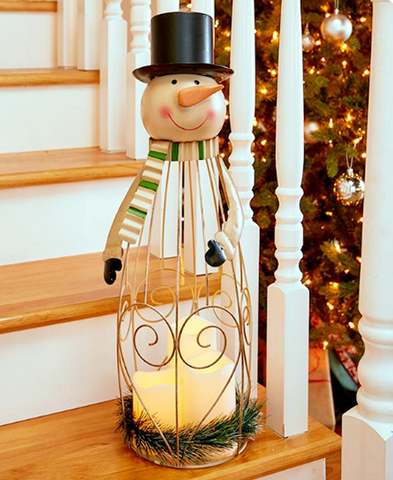 Country Decor Snowman Triple LED Candle Christmas Holiday Lantern