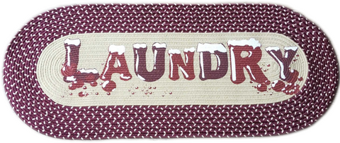 Laundry Room Laundry Room Mat Bubbles Decorative Braided Area Runner - Burgundy Vintage Laundry Room Decor Rug Floor Mat