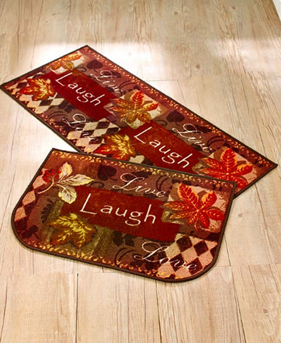 2-Pc. Kitchen Live Laugh Love Fall Home Door Mat Rug Carpet Set