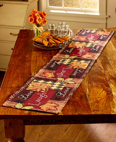 "72"" Tapestry Table Runner Live Laugh Love Fall Home Collection"