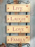 Live Laugh Love and Family Wall Hanging 4-panel Country Stars and Berry Vines Artwork Frame - Home Wall Decoration Hanging Accent Decor