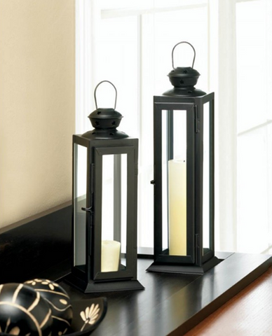 Set of 2 Tall And Short Sleek Lean Star Cutout Decorative Lanterns