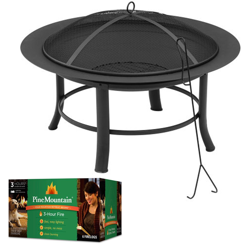 "Backyard Patio 28"" Round Fire Pit with Spark Guard & 3-Hour Fire logs"