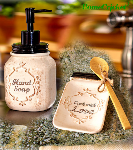 Country Mason Jar Kitchen Collection Soap Dispenser & Ceramic Spoon Rest