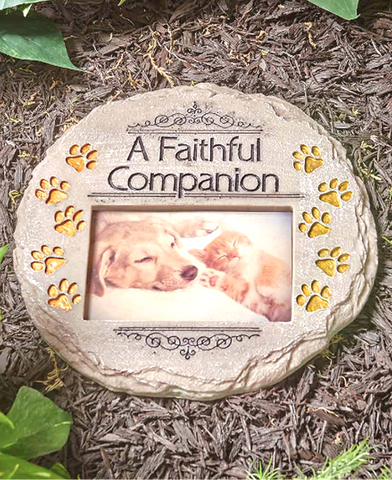 Garden Pet Memorial Tribute Photo Stone Faithful Companion