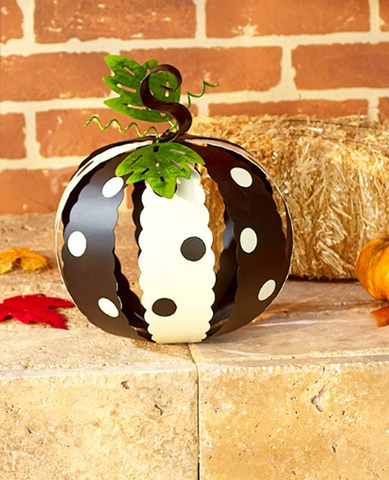 Large White & Black Metal Polka Dot Pumpkins Halloween Fall Decor
