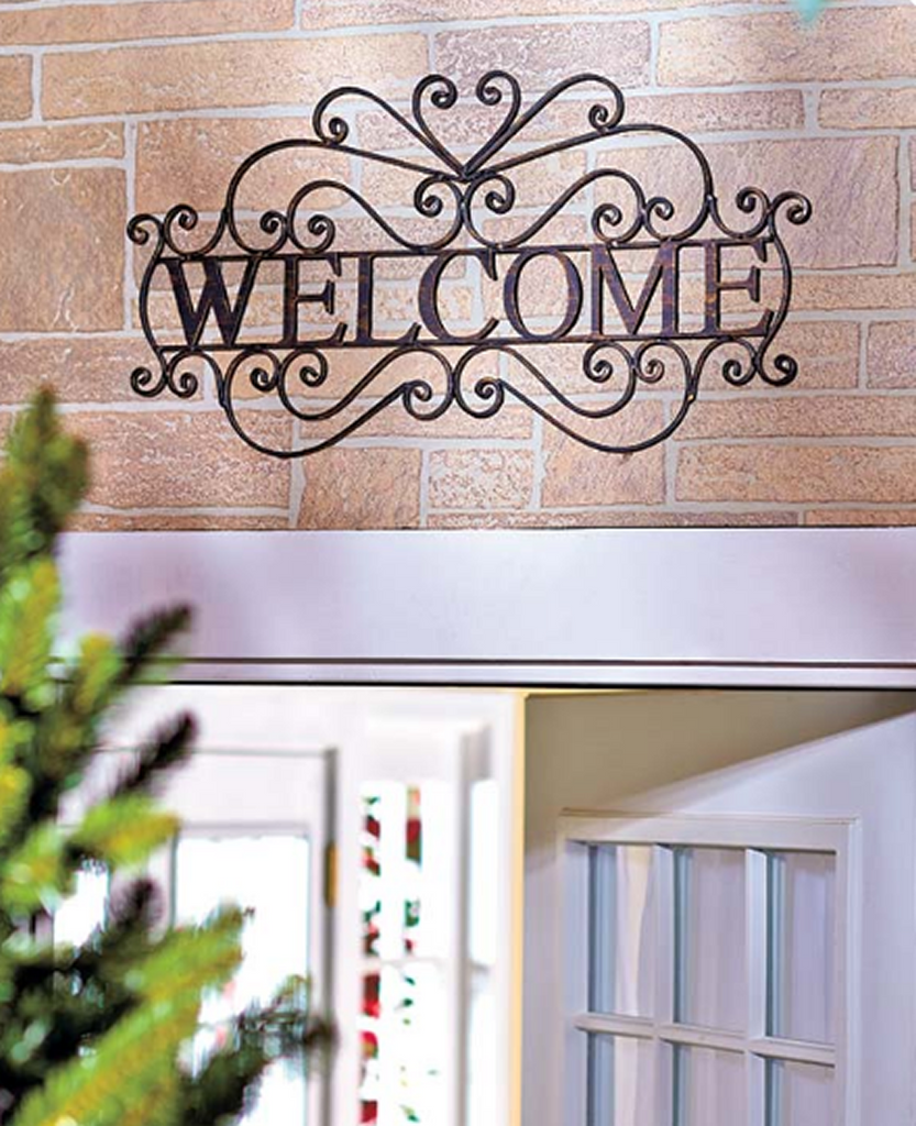 Metal Welcome Wall Plaque Hanging Entryway Sign