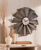 Metal Rustic Windmill Wall Clock Country Decor