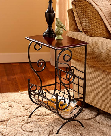 Modern Stylish Metal and Wooden Magazine Coffee End Table