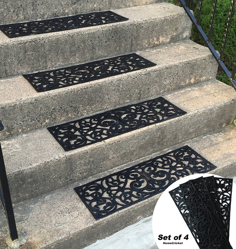 Traction Control Non-Slip Rubber Unique Stair Tread Mats Set of 4