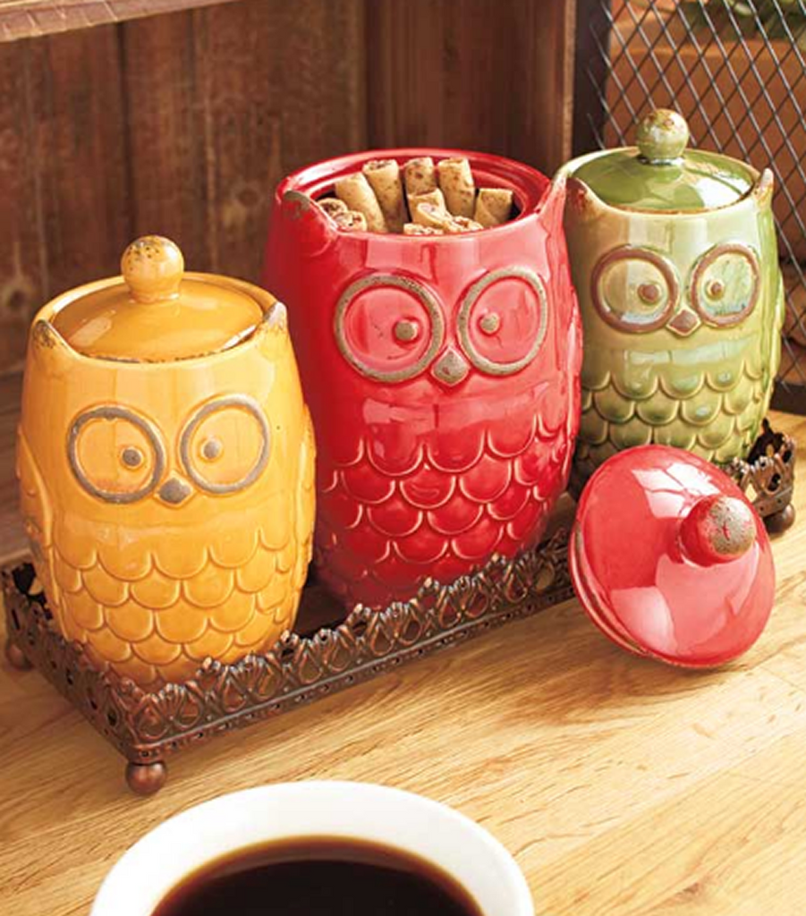 Kitchen Food Storage Organization Owl Countertop 4-Pc. Canisters & Tray Set