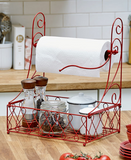 Kitchen Countertop Paper Towel Holder W. Shakers Spices Storage Basket Red