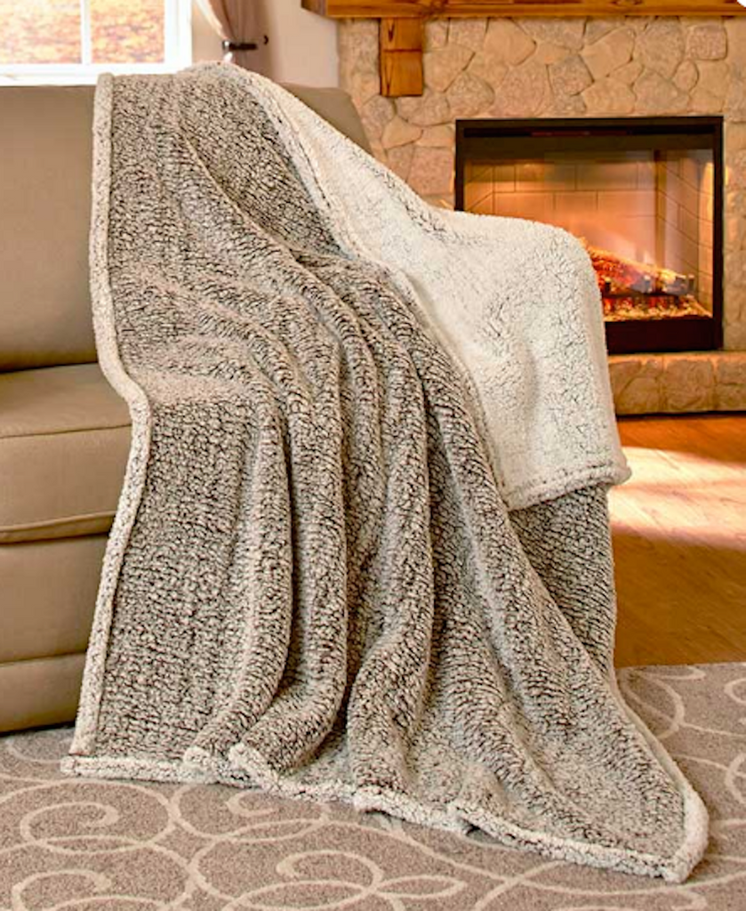 Cozy Ultra-soft Reversible Arctic Sherpa Oversized Chocolate Throw