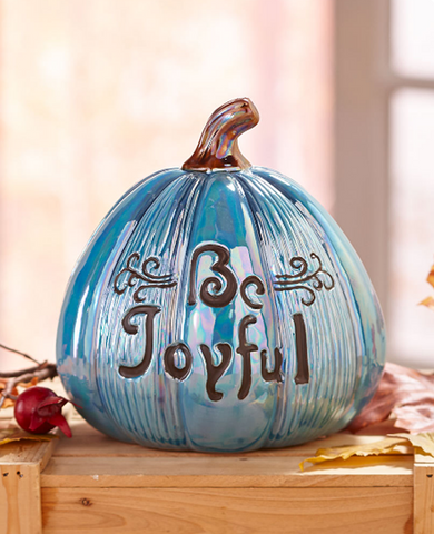 Engraved Be Joyful Ceramic Sentiment Harvest Pumpkin Centerpiece
