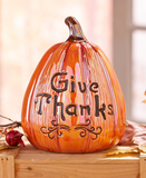 Engraved Give Thanks Ceramic Sentiment Harvest Pumpkin Centerpiece