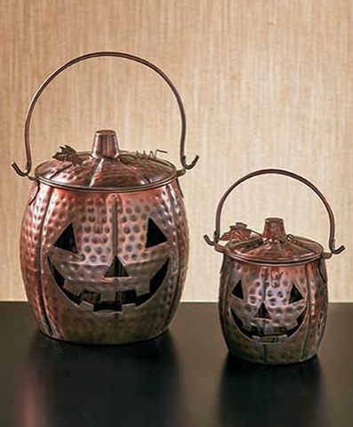 Set of 2 Metal Distressed Pumpkin Tea light Lanterns Home or Porch Decorations