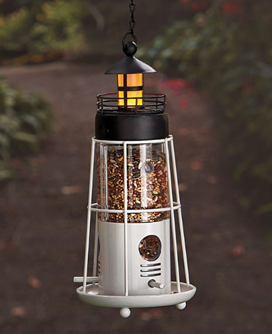 Solar Powered Light Red or Black Lighthouse Hanging Bird Feeder