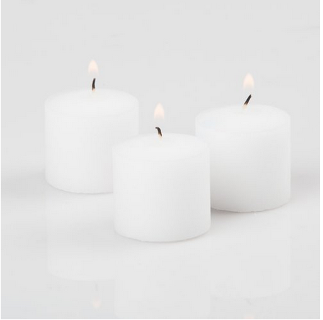 Votive Candles White Unscented 10 Hour Burn Set of 72 - Centerpiece Decorations