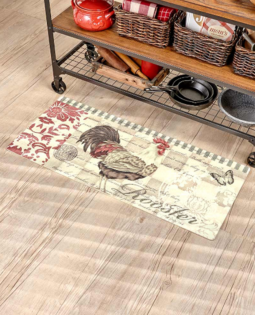 "Country Rooster Kitchen Decor 44"" Printed Cushion Runner Rug Mat"